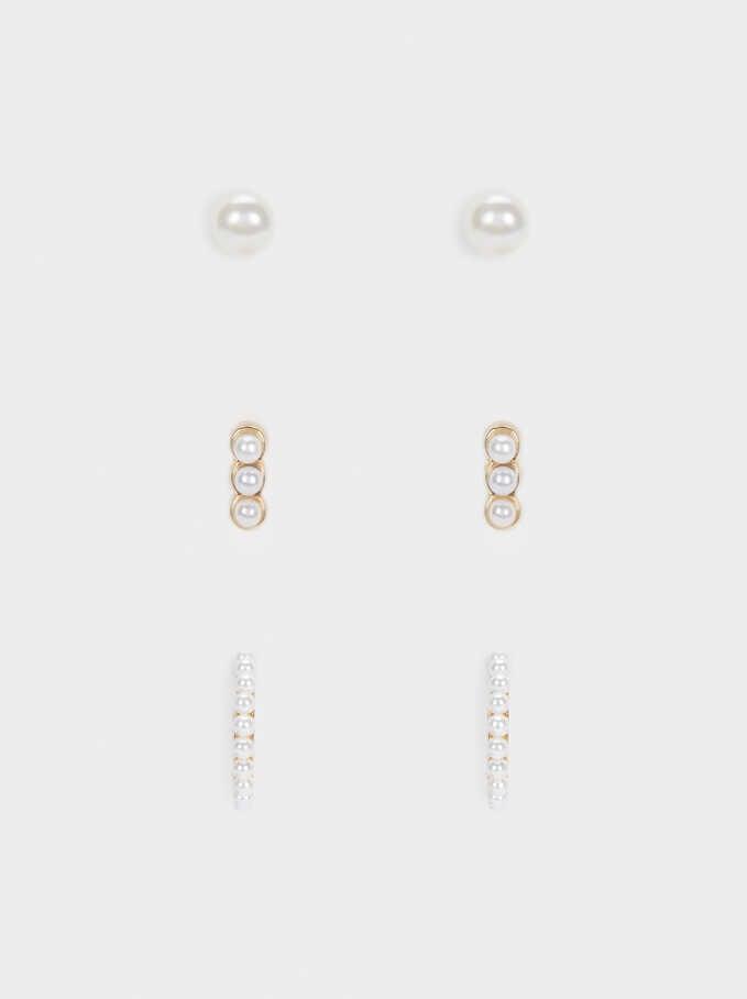 Conjunto De Aros Con Perlas, Dorado, hi-res