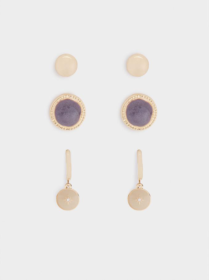Set Of Enamel Hoop Earrings, Multicolor, hi-res