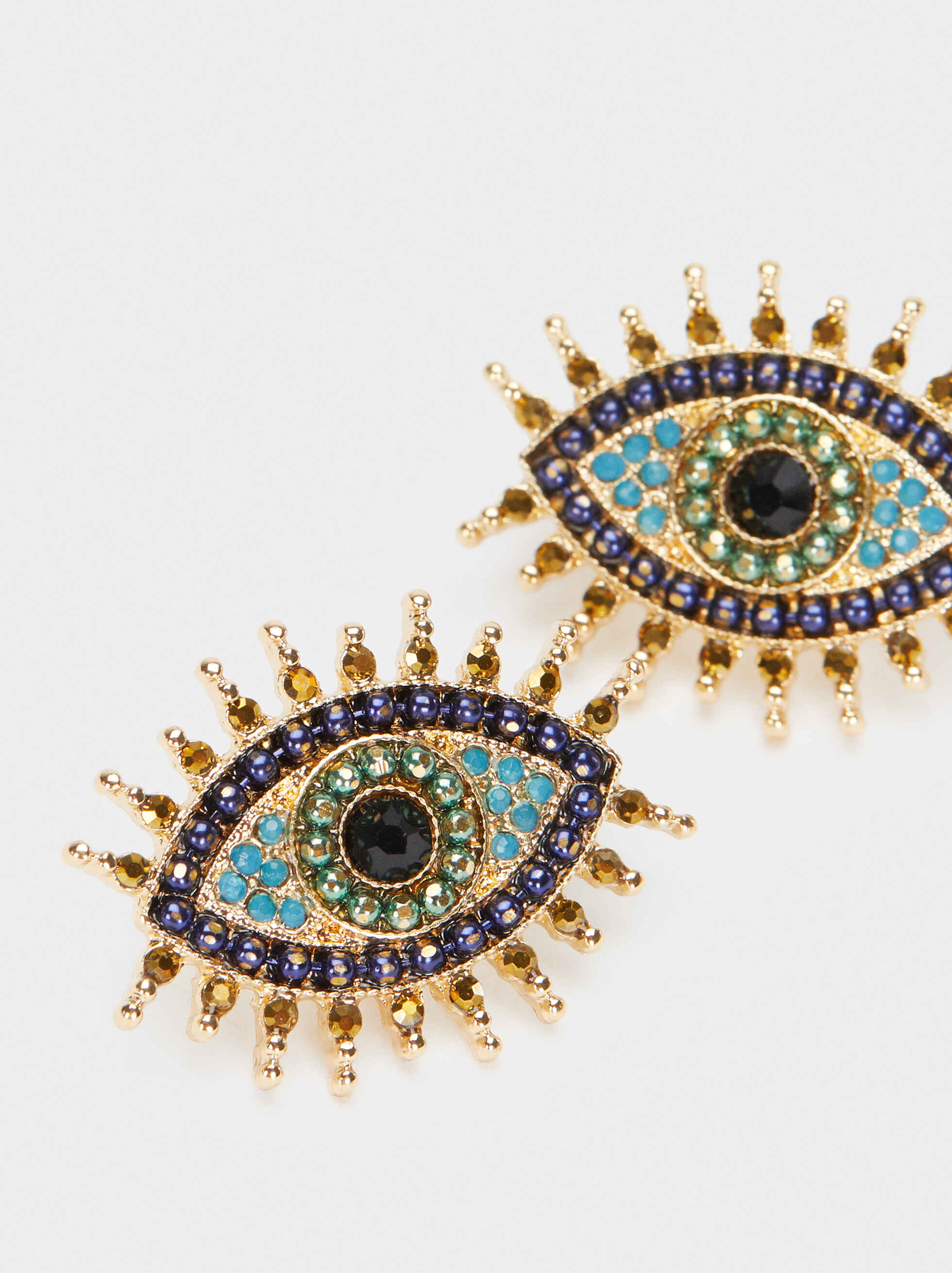 Short Gold Earrings With Crystal Detail, Multicolor, hi-res
