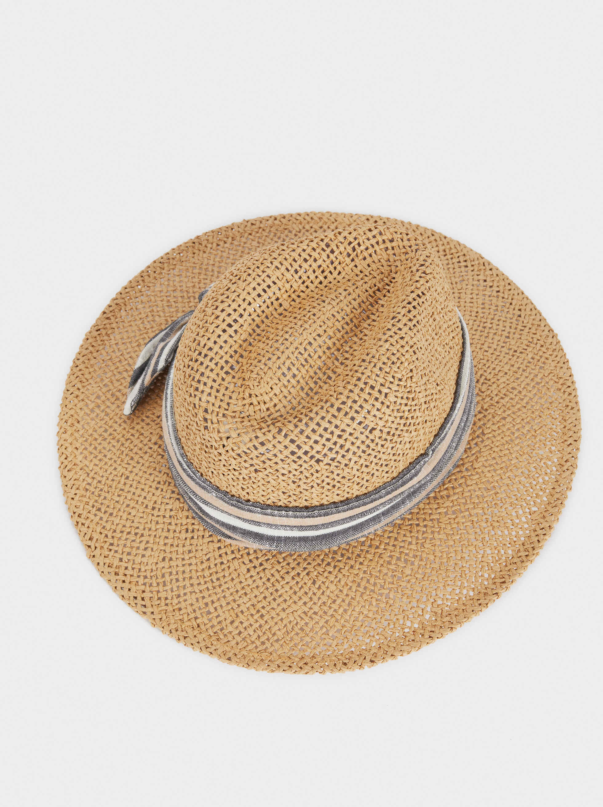 Textured Raffia Hat, Beige, hi-res