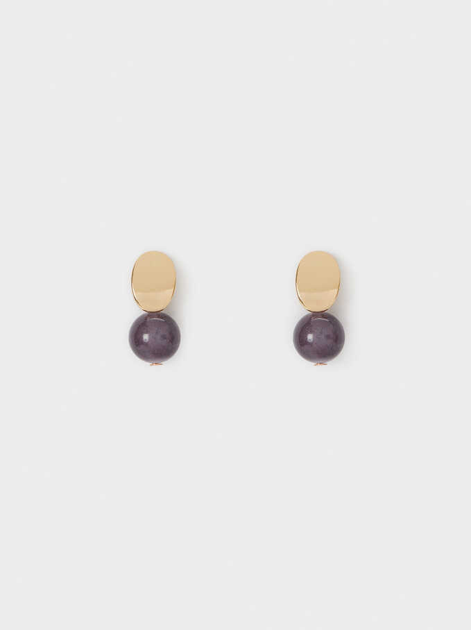 Watercolor Short Earrings With Circles, Violet, hi-res
