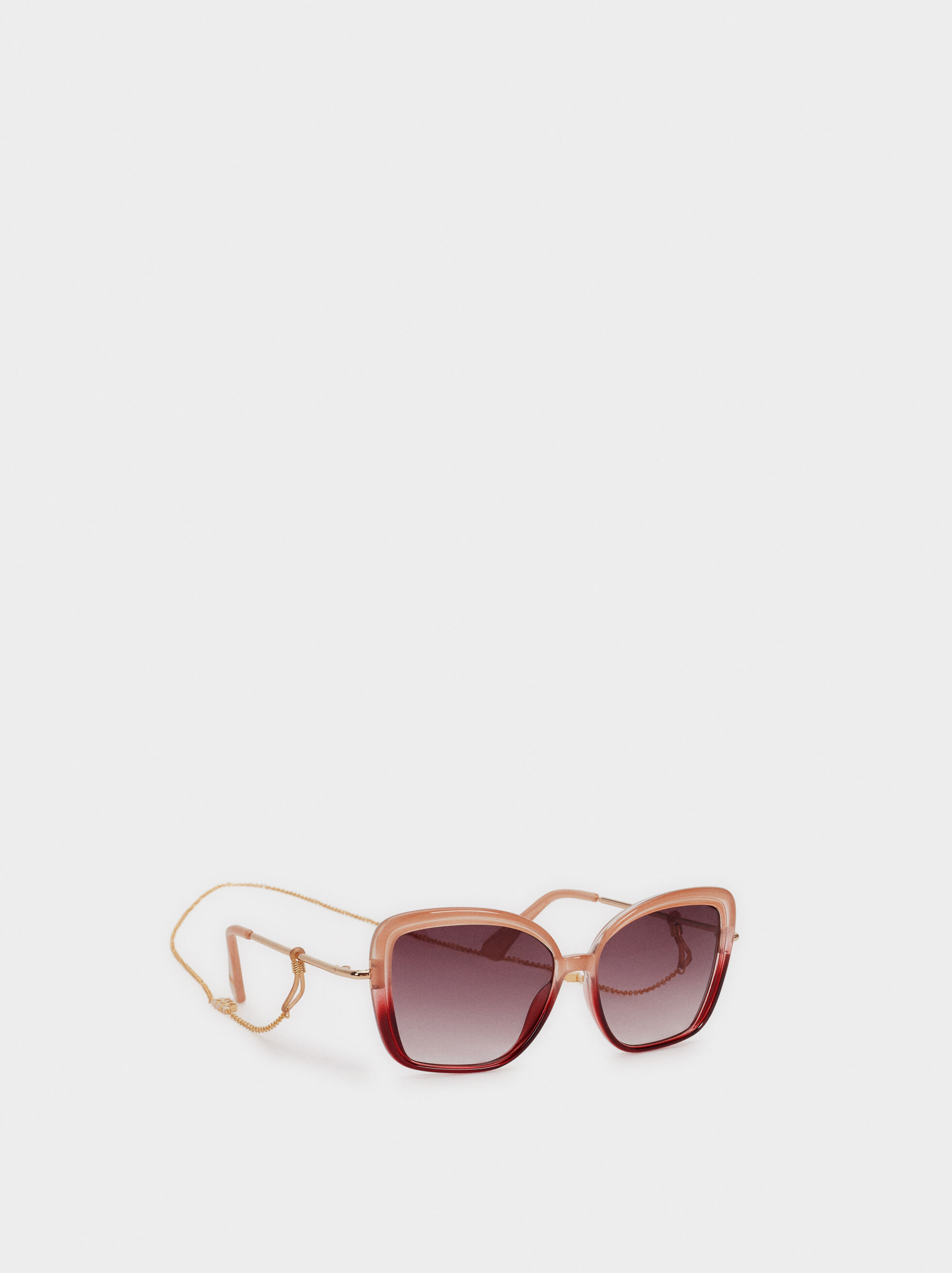 Resin Sunglasses With Chain, Pink, hi-res