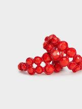Strawberry Fields Short Beaded Hoop Earrings, Red, hi-res