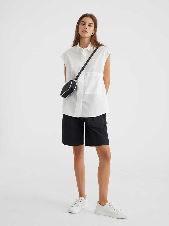 Oversized Sleeveless Shirt, White, hi-res