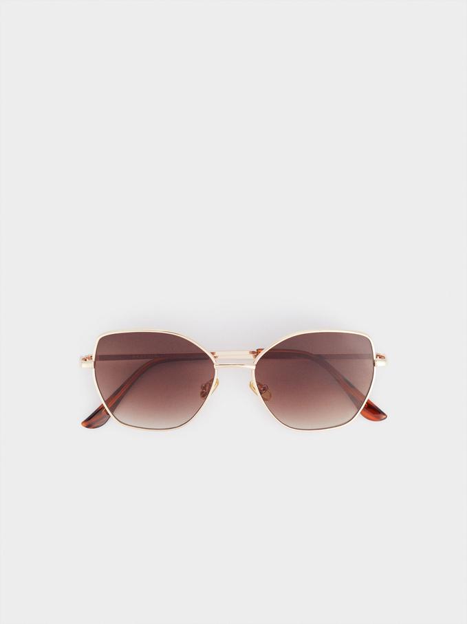 Gafas De Sol Metálicas, Dorado, hi-res