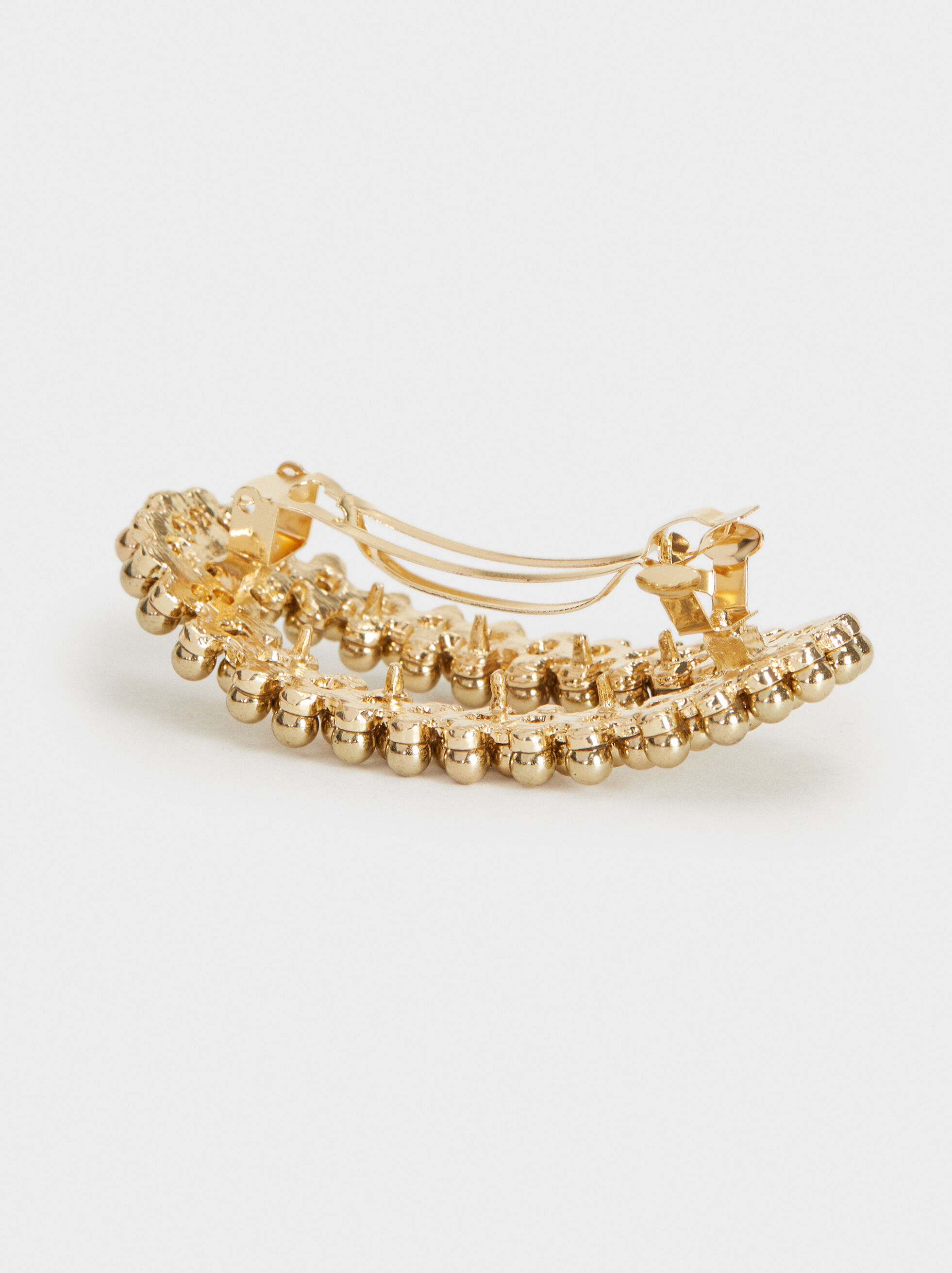 Faux Pearl Hairclip, Golden, hi-res