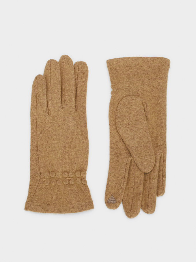 Wool Gloves, Beige, hi-res