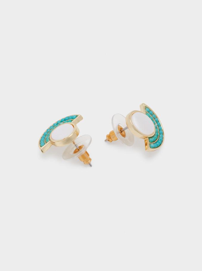 Orecchini Corti Con Conchiglia E Perline, Multicolore, hi-res