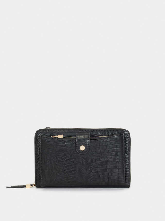 Embossed Large Purse, Black, hi-res