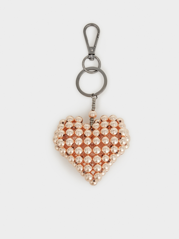 Heart Key Ring, Orange, hi-res