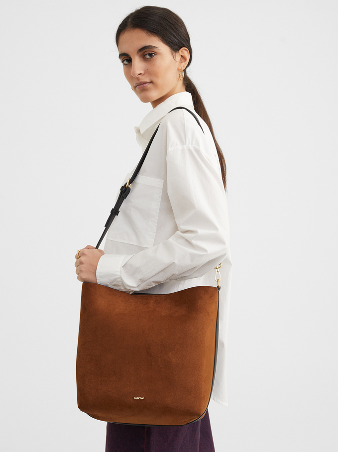 Suede Texture Handbag, Camel, hi-res