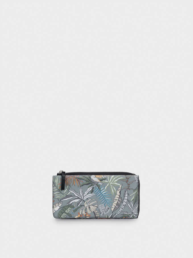 Large Printed Nylon Wallet, Khaki, hi-res