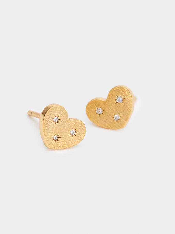 925 Silver Heart Stud Earrings With Zirconia, Golden, hi-res