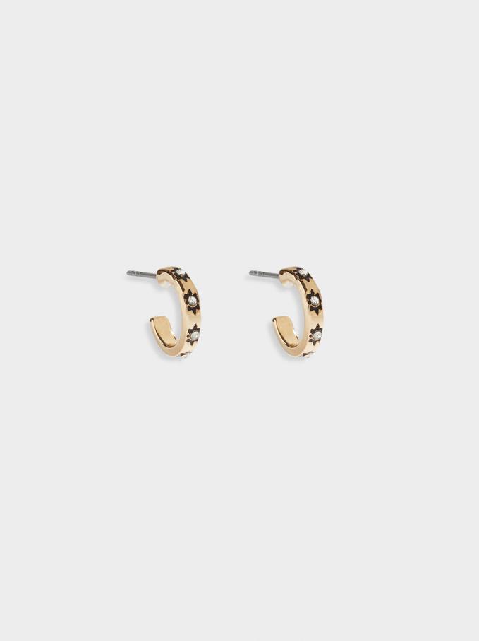 Small Hoop Earrings With Crystals, Black, hi-res