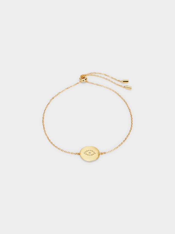 Adjustable 925 Silver Bracelet With Eye, Golden, hi-res