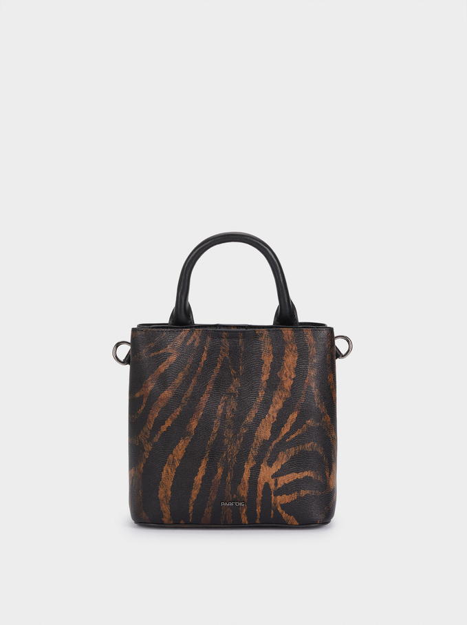 Animal Print Bucket Bag With Detachable Handle, Black, hi-res