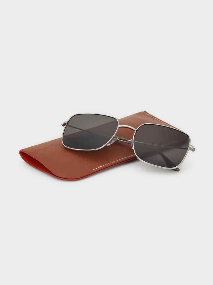 Square-Cut Sunglasses, Silver, hi-res