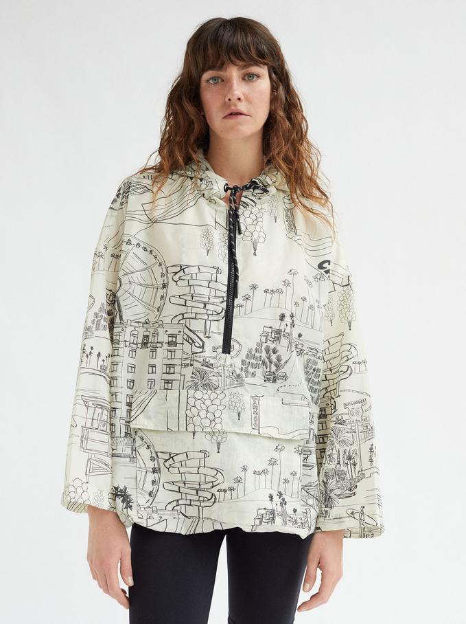 Printed Coat With Hood, Ecru, hi-res