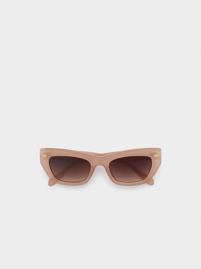 Óculos De Sol Com Armação Em Massa, Bege, hi-res