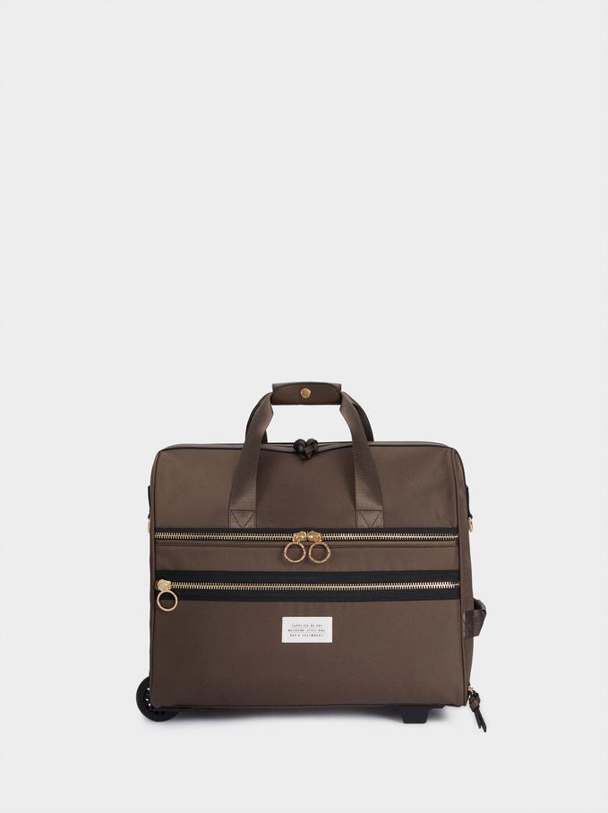 Nylon Suitcase, Brown, hi-res
