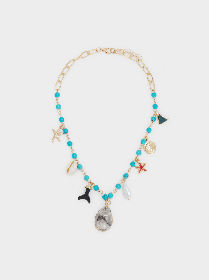 Long Necklace With Stones, Multicolor, hi-res