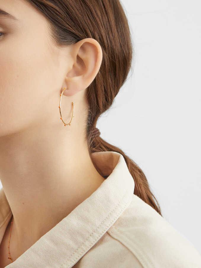 925 Silver Medium Hoop Earrings, Coral, hi-res