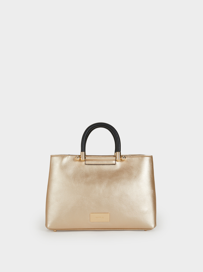 Plain Briefcase With Crossbody Strap, Golden, hi-res