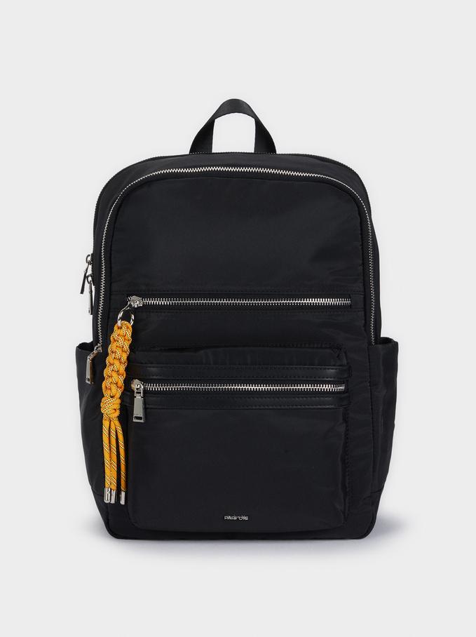 Plecak Z Nylonu Z Zewnetrznymi Kieszeniami, Czarny, hi-res