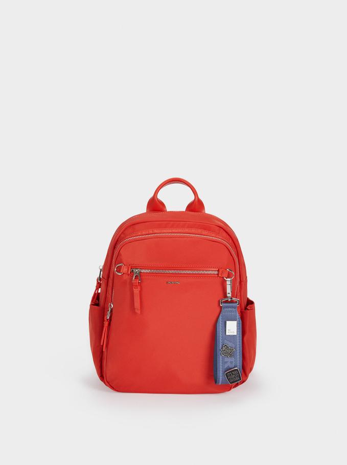 Nylon Backpack With Outside Pocket, Coral, hi-res