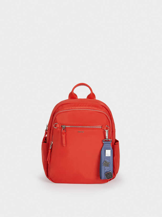 Nylon Backpack With Outside Pocket, Coral, hi-res