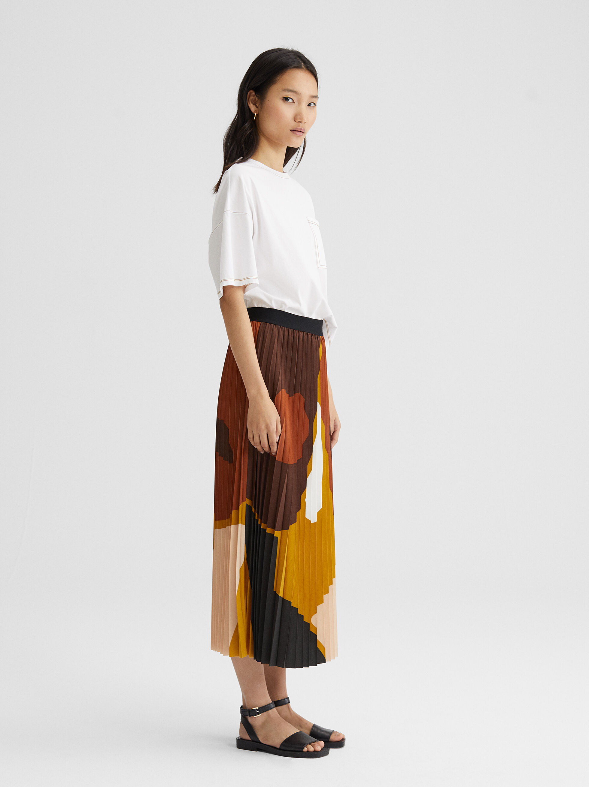 Multi-Coloured Print Pleated Skirt, Multicolor, hi-res