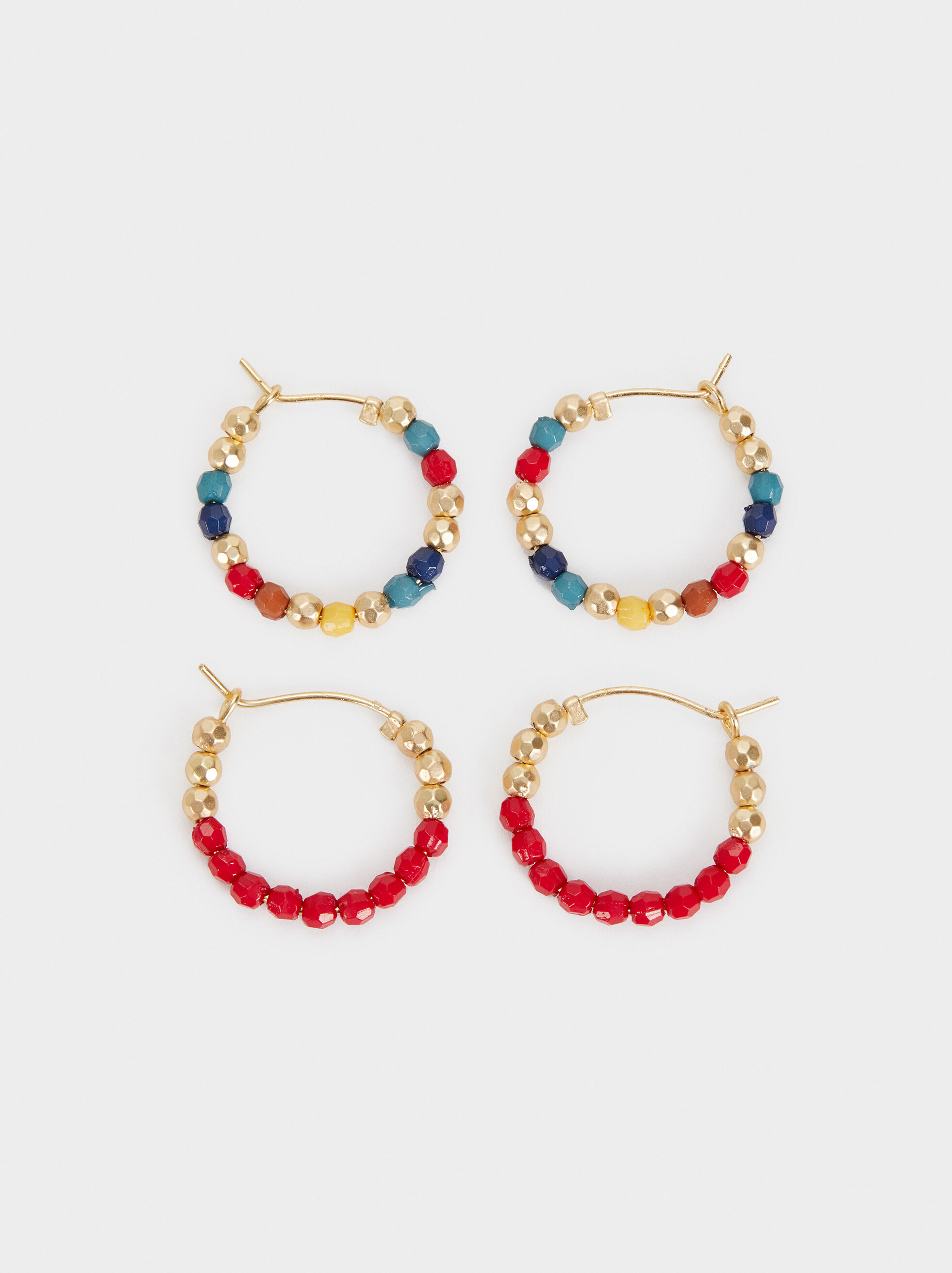 Cherry Blossom Set Of Hoop Earrings , Multicolor, hi-res