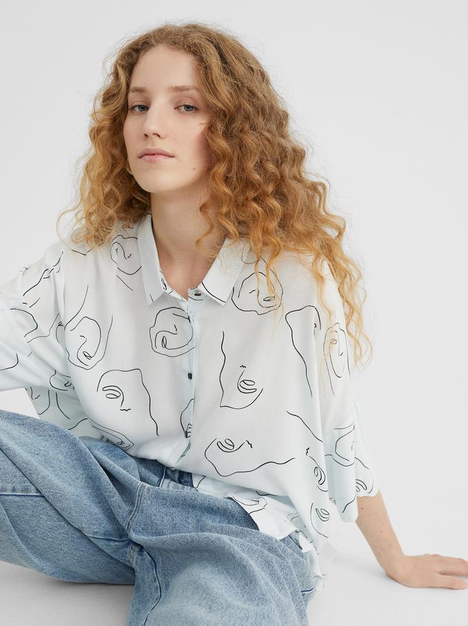 Printed Shirt, Blue, hi-res