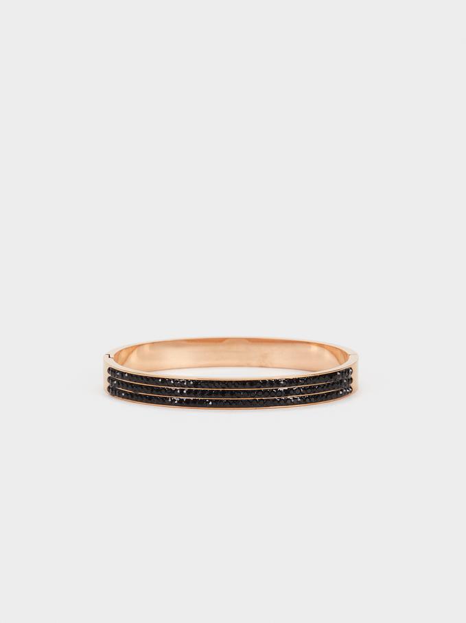 Steel Bracelet With Rhinestones, Orange, hi-res