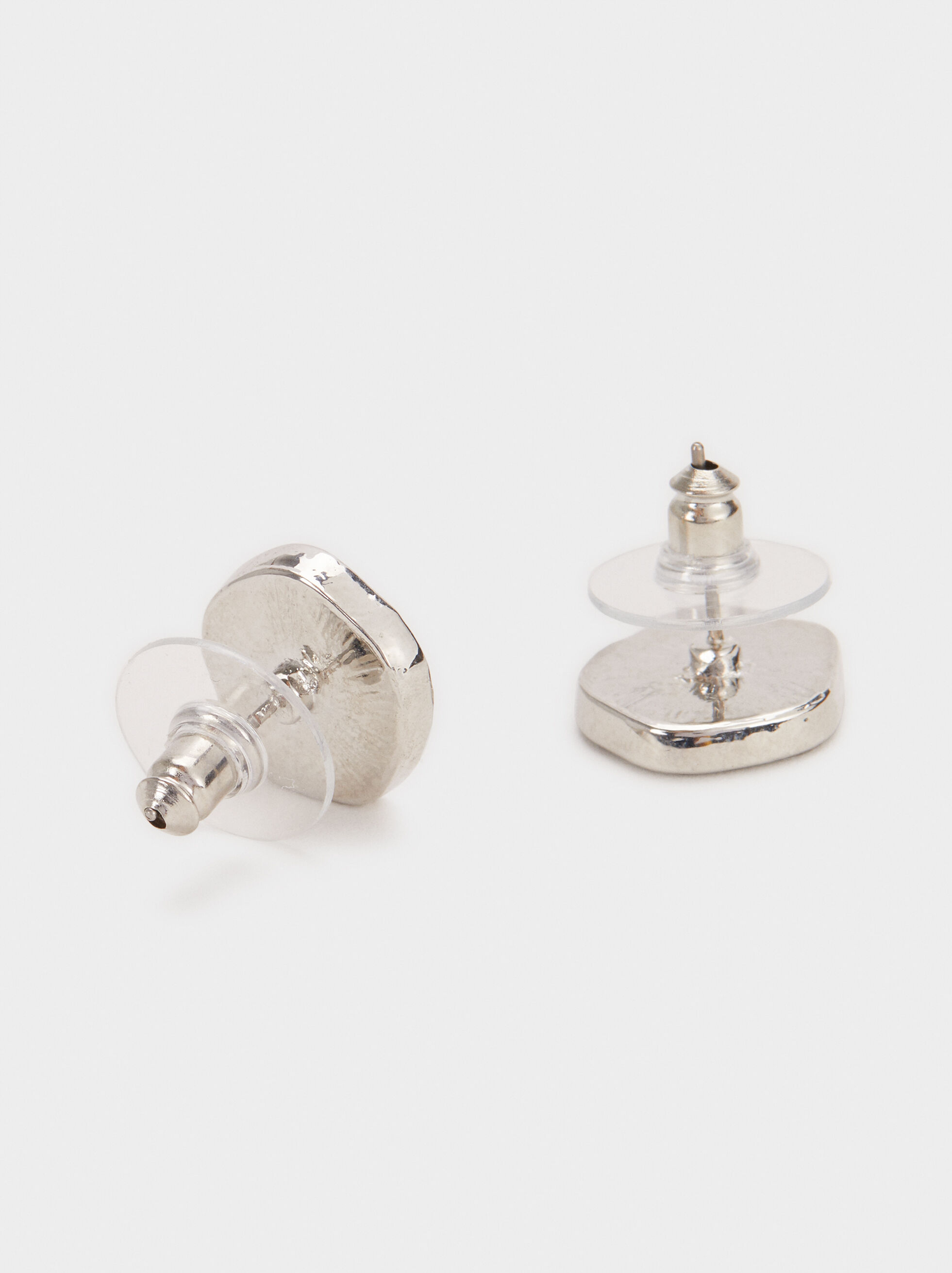 Short Earrings With Mother-Of-Pearl Detail, Silver, hi-res