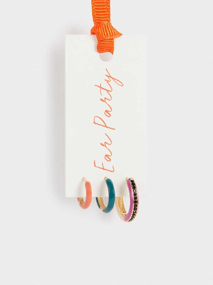 Set Of Short Enamel Hoops, Multicolor, hi-res