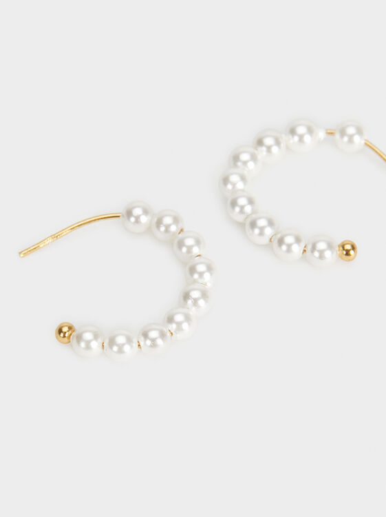 Small Silver 925 Hoop Earrings With Faux Pearls, Beige, hi-res
