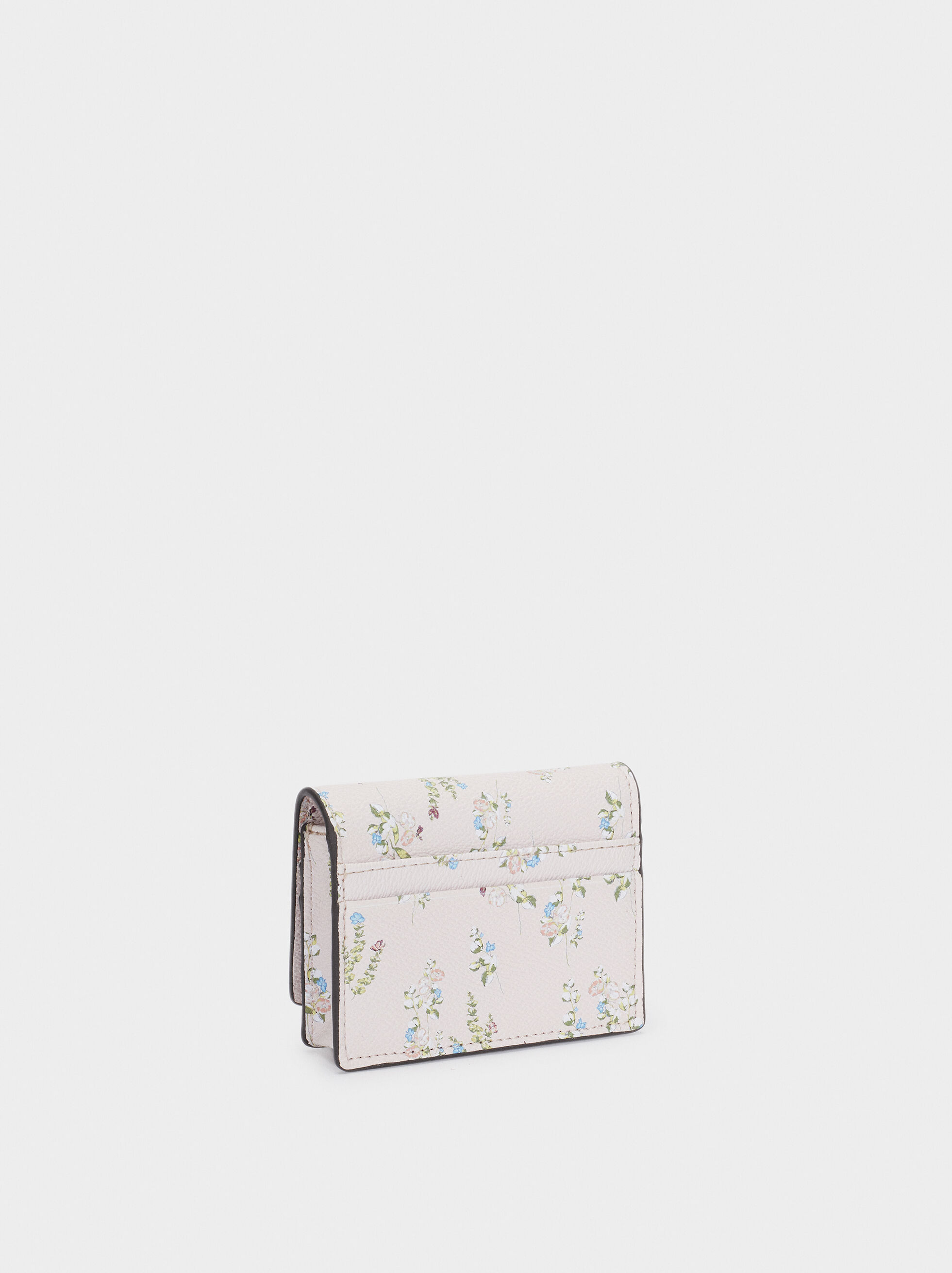 Floral Print Card Holder With Purse, Pink, hi-res