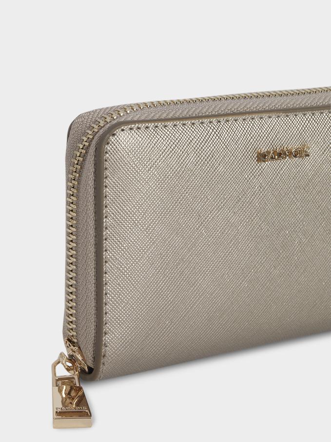 Large Plain Wallet, Silver, hi-res