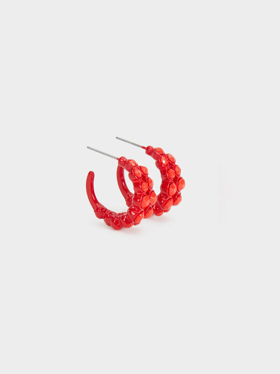 Strawberry Fields Short Beaded Hoop Earrings, Red, hi-res