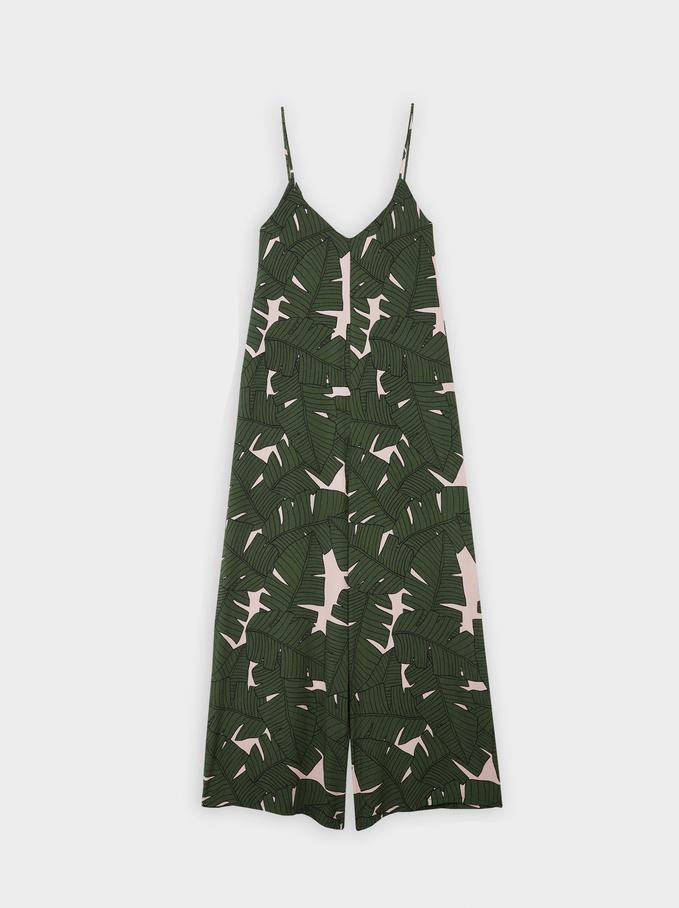 Leaf Print Strappy Jumpsuit, Khaki, hi-res