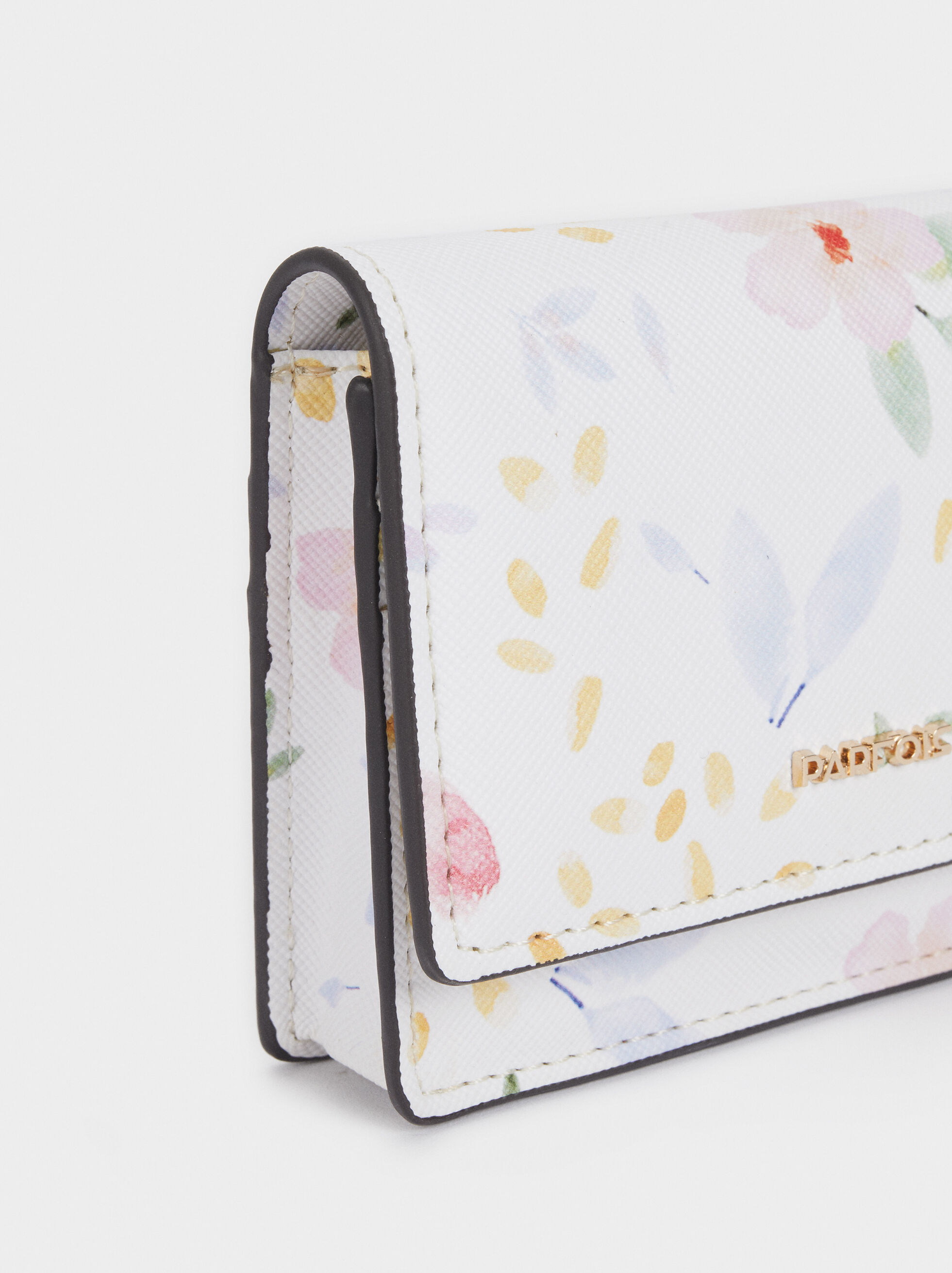 Floral Print Card Holder With Purse, White, hi-res