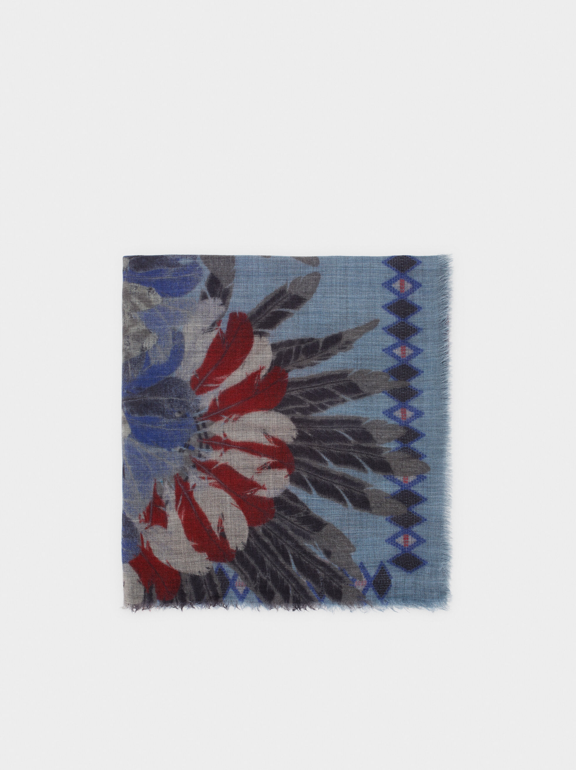 Printed Wool Scarf, Multicolor, hi-res