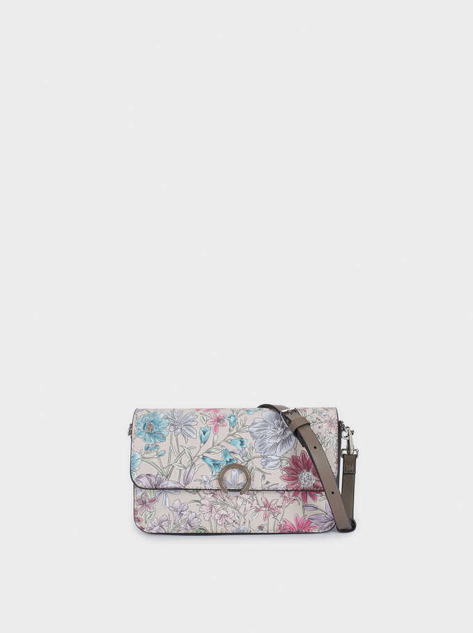 Floral Print Crossbody Bag, Brown, hi-res