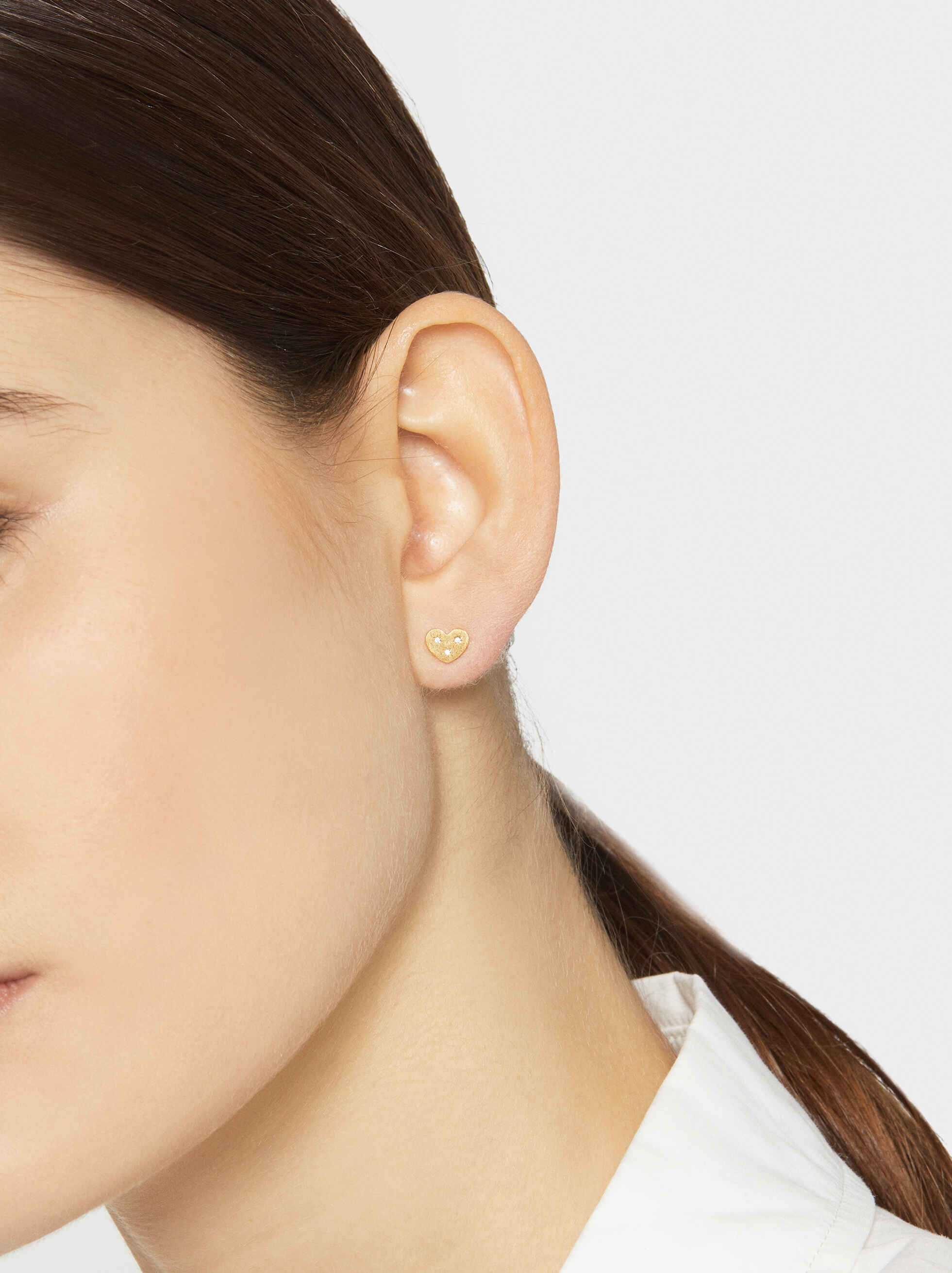 925 Silver Heart Stud Earrings, Golden, hi-res