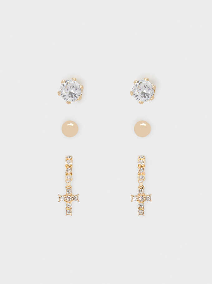 Set Of Cross Earrings With Crystals, Golden, hi-res
