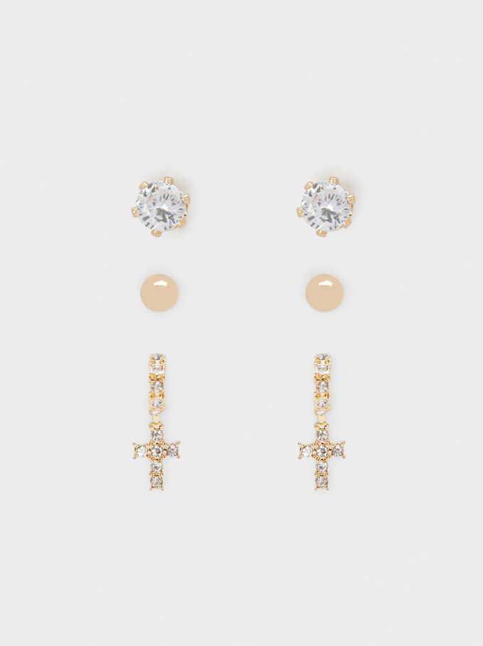 Conjunto De Pendientes Cruz Con Cristales, Dorado, hi-res