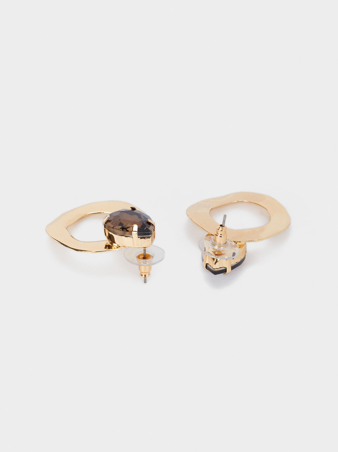 Geometric Earrings, Brown, hi-res