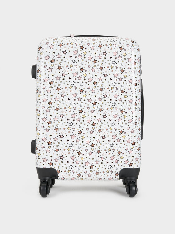 Star Print Trolley Case, White, hi-res