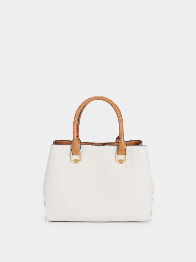 Tote Bag With Removable Shoulder Strap, Ecru, hi-res